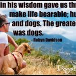 God in his wisdom gave us three things to make life bearable; humour, xx and dogs. The greatest of these was dogs.