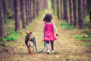 Young girl walks her dog in the woods. Dogs encourage children to be active. That's one of the health benefits dogs provide children