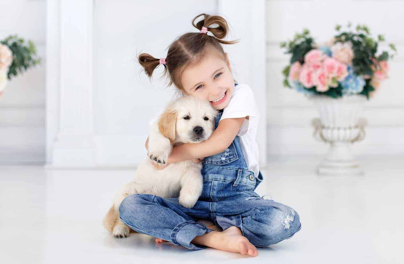 dogs provide Young girl hugs a Labrador puppy. The unconditional love of a puppy helps boost self-esteem, which is an example of how dogs provide health benefits for children.