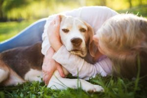 Woman cuddles her senior dog. Senior dogs require extra care.