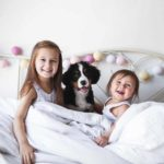 Two girls cuddle in bed with Bernese mountain dog puppy. The psychological benefits of owning a dog include teaching responsibility.