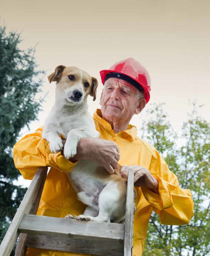 Man rescues small dog. Include your pet in your natural disaster emergency plan.