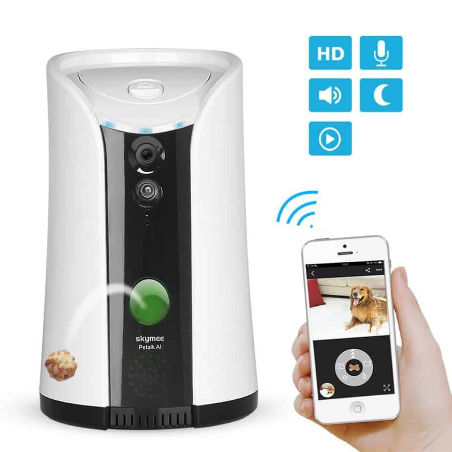 The Skymee treat dispensing dog camera.