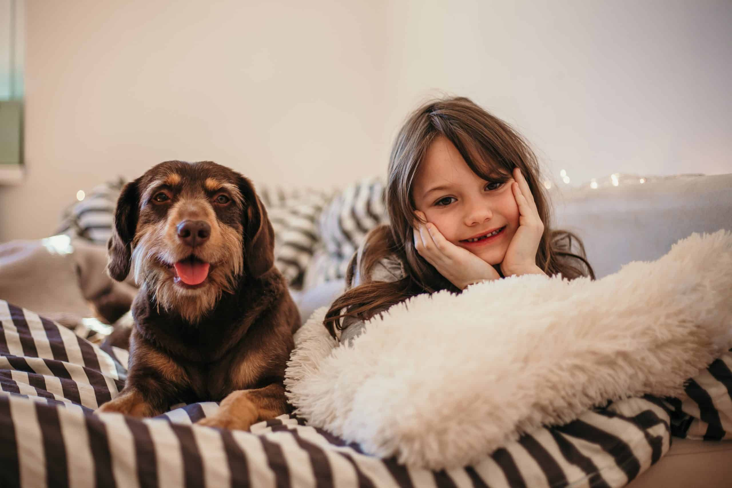 Mutt snuggles on bed with little girl. DNA testing reveals your dog's breed. If your pet is a mutt, you'll likely have more than one, perhaps several.