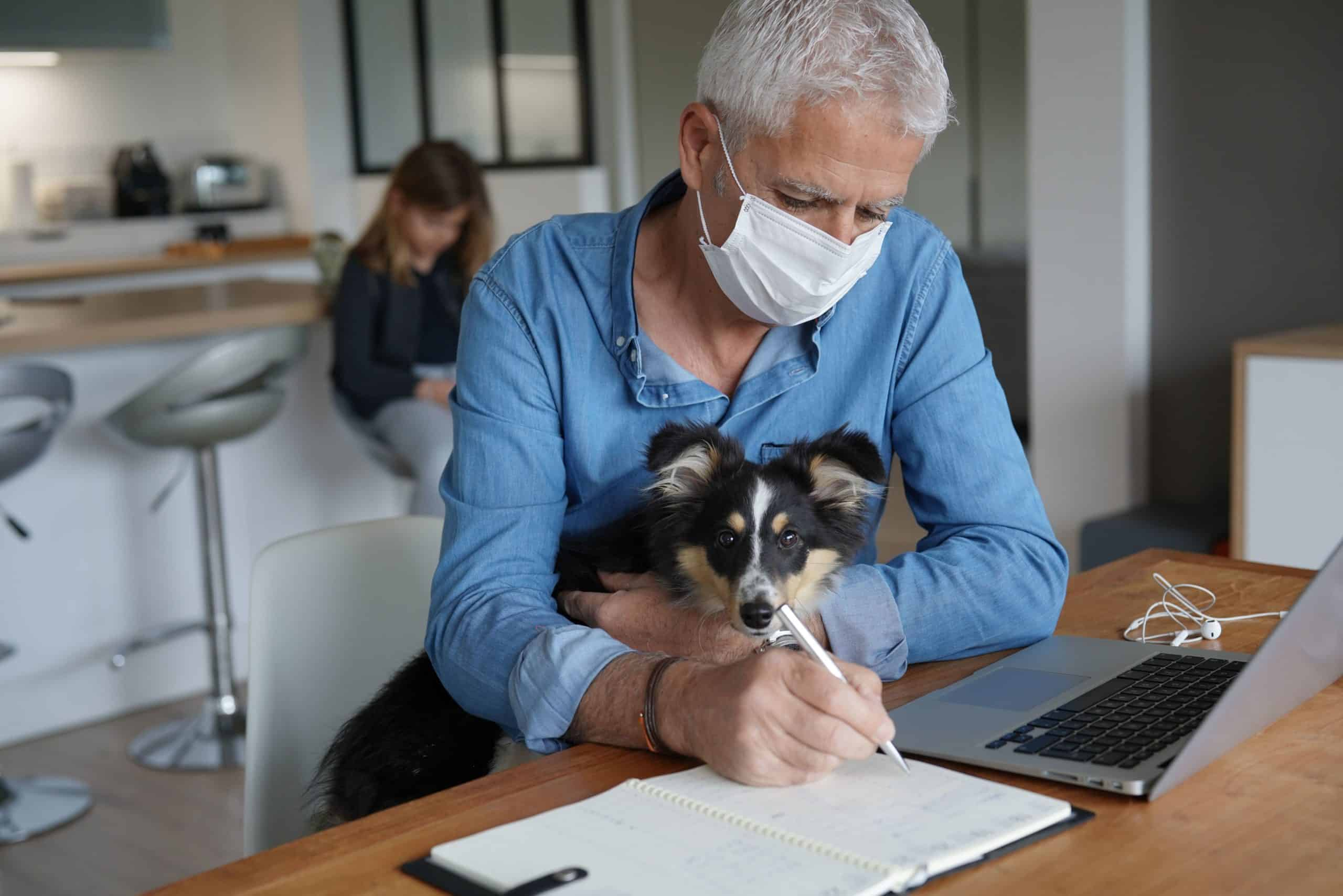 Man wears face mask while holding dog and working from home. Research suggests that there is little to no evidence to suggest dogs can catch COVID-19 or pass it to their owners.