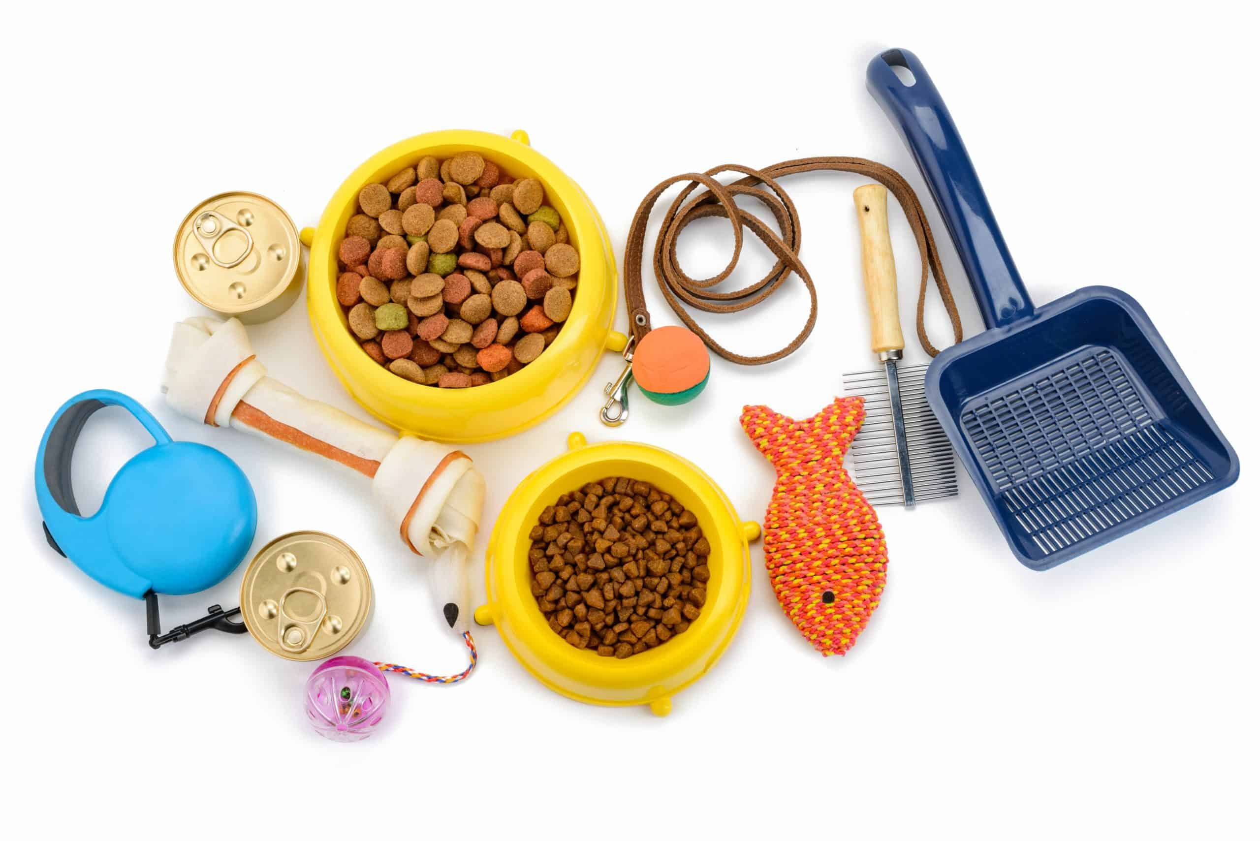 Pet supplies on a white background. Your pet's food, litter, toys, treats, medical care, and other supplies can really add up. Luckily, there are a few easy ways to save money on pet supplies so you can enjoy your animal companion for less.