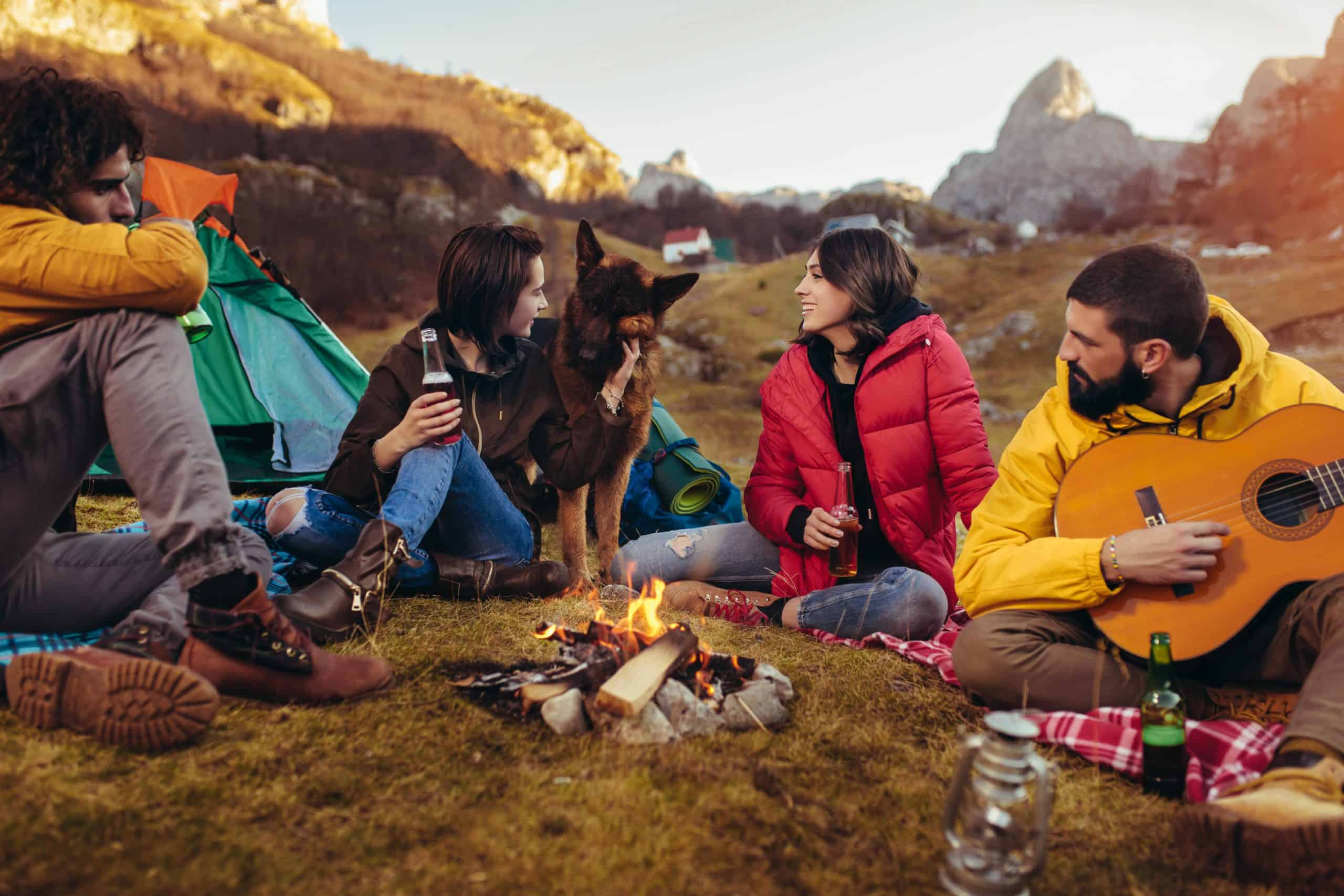 German Shepherd sits with a group of campers near a campfire. German Shepherds make great camping companions. The dogs are territorial and protective, so there they won't let anyone into your tent uninvited.