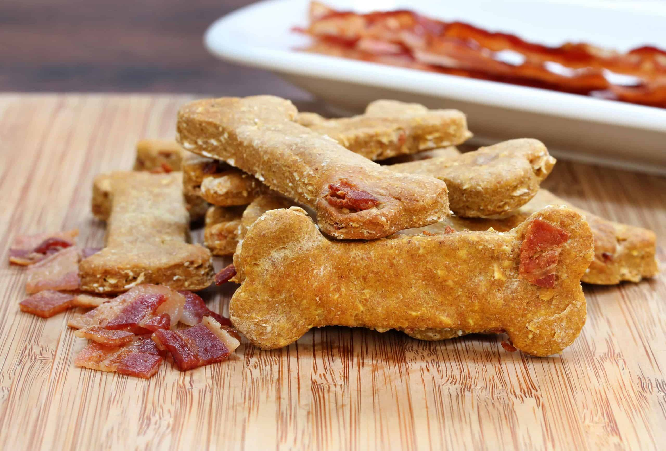 Homemade dog treats with bacon. Add other flavors such as bacon bits, liver powder, or shredded cheese to make DIY dog treats tastier.
