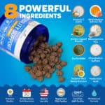 Innovet's Advanced Mobility Support Chews ingredients graphic.